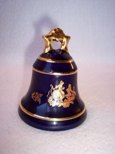 Vintage Limoges France Cobalt Blue Proposal Couple Porcelain Bell 22K Gold