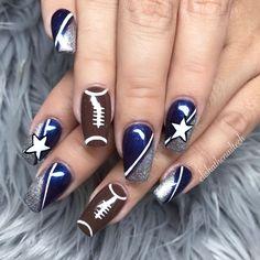 Dallas Cowboys Nail Designs, Football Nail Designs, Dallas Cowboys Nails, Football Nails, Nail Pro, Nail Tech, Gel Nails, Acrylic Nails, Simple Nail Art Designs