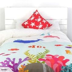Little w Under The Sea Single Duvet Cover and Square Cushion Cover Set Single Duvet Cover, Duvet Cover Sets, Bed Linen Online, Linen Storage, Bed Styling, Textile Patterns, Under The Sea, Discount Designer, Linen Bedding