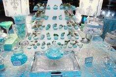 Tiffany amp co candy buffet desert table tiffany blue color party