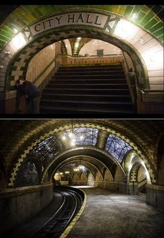 Photos from inside the abandoned City Hall NYC subway stop, closed since Simply gorgeous, i would love to see it in person. Just imagine what it was like when it was open Abandoned Cities, Abandoned Mansions, Abandoned Houses, City Hall Nyc, A New York Minute, Nyc Subway, To Infinity And Beyond, Places To See, New York City