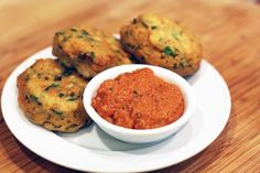 Chickpea Fritters With Romesco Sauce  [vegan, gluten free, soya free]