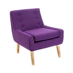 Accent Chair: Upholstered Chair: Reese Tufted Fabric Retro Chair -... ($200) ❤ liked on Polyvore featuring home, furniture, chairs, accent chairs, purple, upholstery chairs, tufted furniture, upholstered accent chairs, retro furniture and purple furniture