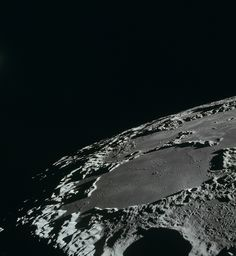 """humanoidhistory: """" A view of the Thomson Crater and Sea of Ingenuity on the southern part of the far side of the Moon, observed during the Apollo 15 mission in 1971. (NASA) """""""