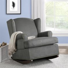 Baby Relax Harlow Wingback Charcoal Rocker with Nailheads - Overstock™ Shopping - Big Discounts on Gliders & Ottomans