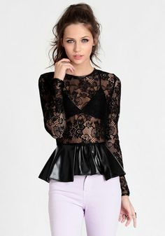 True Vixen Lace Peplum Top at Leather Peplum Tops, Lace Peplum, Fashion Outfits, Womens Fashion, Fashion Trends, Affordable Fashion, Pretty Outfits, Girls Dresses, Street Style