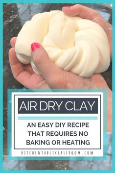 Use this easy DIY clay recipe to learn how to make air dry clay for kid's crafts. Household ingredients are all you need- no cooking or baking required! crafts for kids Air Dry Clay- An Easy DIY Clay Recipe - The Kitchen Table Classroom Creative Crafts, Fun Crafts, Clay Crafts For Kids, Decor Crafts, Clay Projects For Kids, Air Dry Clay Ideas For Kids, Diy Arts And Crafts, Crafts Cheap, Adult Crafts