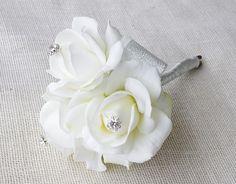 Roses and Mini Jewel Brooch Flower Girl Wedding Wand Bouquet- Bridesmaids Silk Wedding Flowers