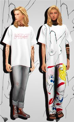 Summer Oversized T-shirts Recolor for The Sims 4