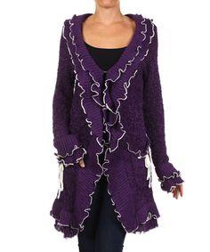 Look what I found on #zulily! Purple & White Ruffle Cardigan by Karen T. Design #zulilyfinds