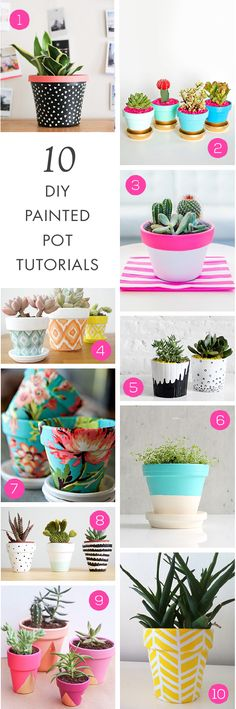This summer, forget boring old terracotta pots and transform your potted plants into works of art. Need some painting inspiration? These 10 DIY Painted Pot Tutorials are sure to get your creative juices flowing!