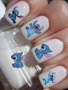 20 Stitch Disney Nail Art WaterSlide Transfer Decal - New Ideas Disney Nail Designs, Cute Nail Designs, Acrylic Nail Designs, Disney Acrylic Nails, Best Acrylic Nails, Nails For Kids, Fun Nails, Stylish Nails, Trendy Nails