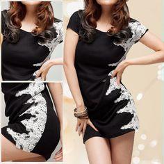 Left Side White Lace Decor Black Dress M for Ladies