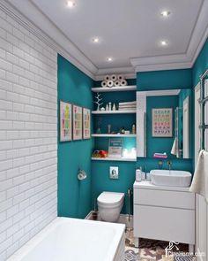 Ванная комната в бирюзовом