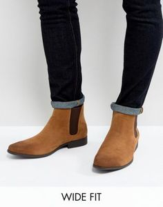 ASOS Wide Fit Chelsea Boots in Tan Faux Suede