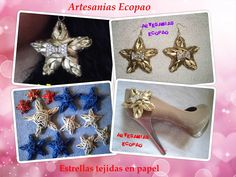 Artesanias Ecopao: Pap de estrellas tejidas en papel, usadas como aretes y accesorios decorativos