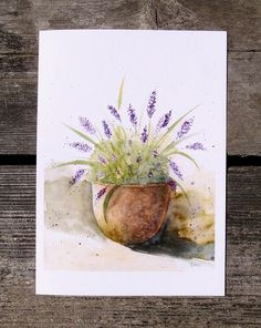 Lavender Printed Greeting Card Watercolor Birthday Hello