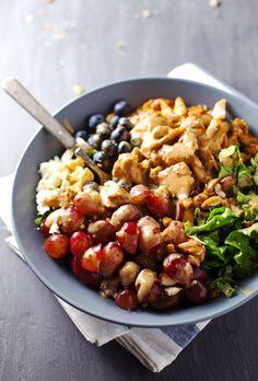 Rainbow Chicken Salad with Almond Honey Mustard Dressing - freshly addicting.   pinchofyum.com