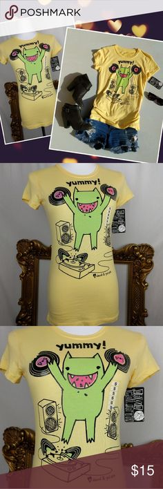 NWT Cute Monster Record Music Lover T-Shirt Gift Super cute print. I love this little guy!  Great soft long line slim T-Shirt. New with tags. Great gift. Size small. David & Goliath Tops Tees - Short Sleeve