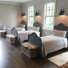 Darling shared bedroom (beds are from Restoration Hardware)