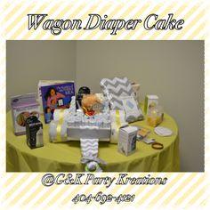 Wagon design diaper cake