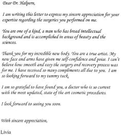 Patient testimonial regarding breast augmentation surgery by dr patient letter regarding her new body thank you for my incredible new body spiritdancerdesigns Gallery