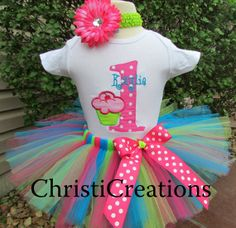 Cupcake--Baby Girl 1st Birthday Shirt--1st birthday--2nd birthday--Personalized--Photo prop