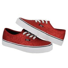 Vans Womens Authentic Shiny Glitter Red Trainers Classic Womens Shoe All Sizes | eBay