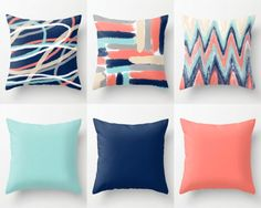 Throw Pillow Covers, Coral Navy Aqua Beige Grey, Mix and Match, Abstract Art, Home Decor Decorative Pillows Decorative Pillows – 2019 - Pillow Diy Coral Living Rooms, Coral Bedroom, Living Room Colors, Living Room Grey, Navy Orange Bedroom, Coral Bedding, Floral Comforter, Green Pillow Covers, Cushion Covers