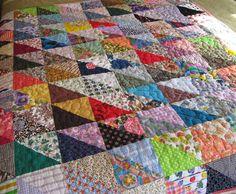 Vibrant Scrappy Patchwork Lap Quilt. $ 180.00, via spongetta