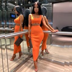 Colysmo Womens Sexy Two Piece Sets 2019 Summer 2 Piece Set Women Crop Top And Skirt Set Party Club Outfits Orange Sets Clothes Crop Top Outfits, Casual Skirt Outfits, Casual Clothes, Two Piece Outfit, Two Piece Dress, Cropped Tops, Club Outfits For Women, Clothes For Women, Night Outfits