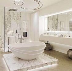 Home Design: awesome 25 Luxurious Marble Bathroom Design Ideas . Dream Bathrooms, Beautiful Bathrooms, Modern Bathroom, Bathroom Marble, Luxury Bathrooms, Bathroom Cabinets, White Bathroom, Bathroom Mirrors, Bathroom Lighting