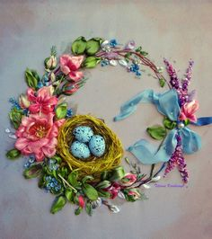 """picture """"Wreath"""",  Silk ribbon embroidery,ribbonwork,ribbonembroideryart,for frame di SilkRibbonembroidery su Etsy"""