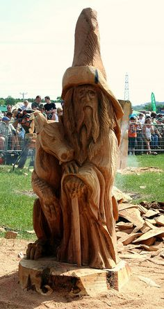 Wizard & Dragon Wood Carving