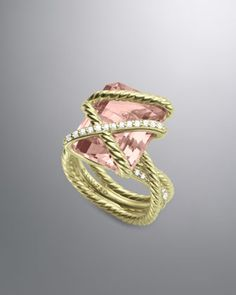 Cable Wrap Ring, Morganite  by David Yurman at Neiman Marcus