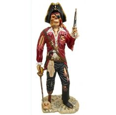 Lifesize PIRATE SKELETON STATUE undead caribbean old style sculpture man cave