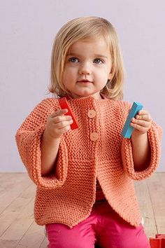Fresh Melon Sideways Cardigan - Yoke and sleeves are knit in one piece, from sleeve cuff to sleeve cuff. Stitches are then picked up along lower edges of yoke for back and fronts. Skill level easy - (6 months - 4 years)