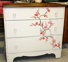 Beth Heim from the Make Me Pretty again blog used our Cherry Blossoms stencil on the dresser.