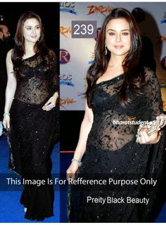 This Gorgeous Black Colored Preity Zinta Bollywood Replica Net Fabric Saree Is Designed With Embroidery & Merror Work.