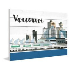 Marmont Hill Vancouver Skyline by Molly Rosner Painting Print on White Wood, Size: 60 inch x 40 inch, Multicolor