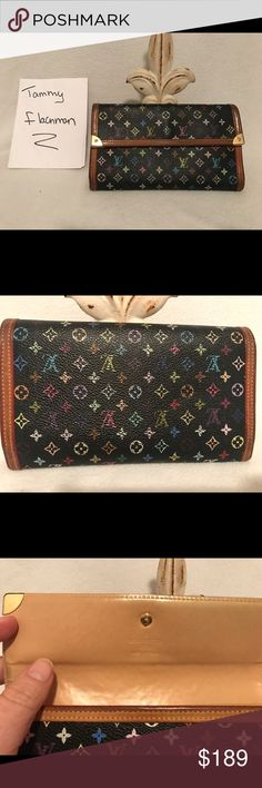 Louis Vuitton Multicolore long wallet Beautiful Multicolore long wallet Canvas is in good condition but does show some wear on the colored pattern, some color is wearing off in areas. Some tarnish on the metal corners. Snap shuts tightly. Interior in good condition with some minor discoloration. Louis Vuitton Bags Wallets