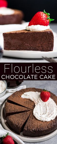 This BEST Flourless Chocolate Cake Recipe is a gluten-free dessert for serious chocolate lovers. It's made with only 7 ingredients and is the perfect make-ahead treat. No springform pan needed! Best Flourless Chocolate Cake, Chocolate Truffle Cake, Flourless Cake, Chocolate Truffles, Chocolate Desserts, Chocolate Lovers, Simple Chocolate Cake, Chocolate Pasta, Sugar Free Chocolate Cake