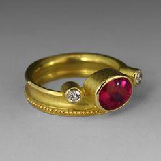 Oval Rubelite and diamonds,Barbara Heinrich