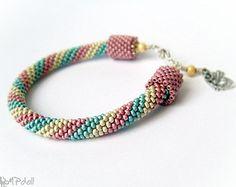 Paint My World - Bead Crochet Bracelet Crochet Rope Beaded Green Pink Yellow Seed Beads Czech Glass Beads Snake Beadwork Handmade OOAK