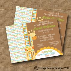 Giraffe Baby Shower Invitation DIY PRINTABLE by bunglehousedesigns, $12.00