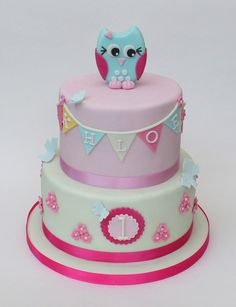 owl and butterfly cake | by Hannah Loves Cake