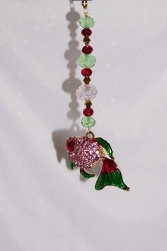 Pink and Green, Crystal Fish, Rear View Mirror Charm, Fish Car Charm