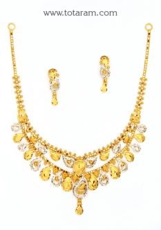 Buy 22K Gold Necklace & Earrings Set - GS2870 with a list price of $847.99 - 22K Indian Gold Jewelry from Totaram Jewelers