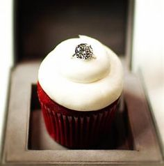 This is the perfect proposal for me: a ring in a red velvet cupcake. Simple, but adorable.