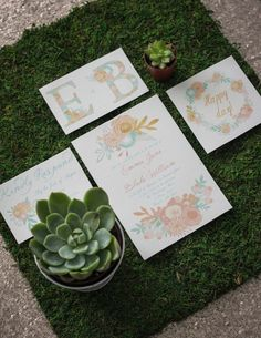 A green, succulent-filled vibe providing the contrast to this watercolor wedding invitation suite. Pops of gold, mint, and peach printed on a canvas paper perfectly compliment the contemporary elegance of Sorella Vita's Modern Metallic bridesmaid dress.